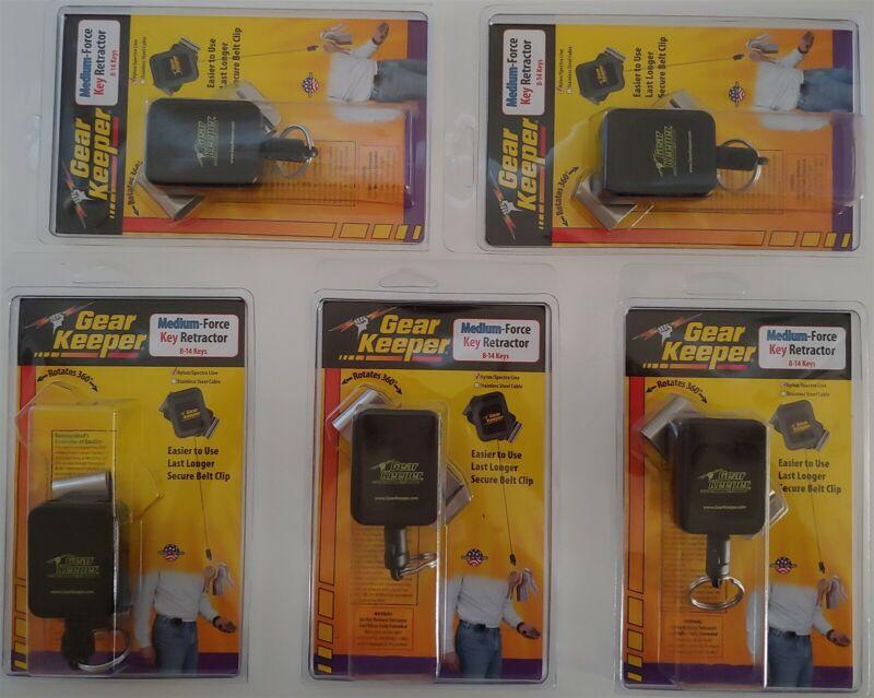 Lot of 5 Gear Keeper RT4-5851-E Medium Force Key Retractor Belt Clip 36 in Long