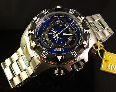 INVICTA MENS LARGE SWISS RESERVE S.S. 52MM TOURING EXCURSION CHRONO W BLUE DIAL