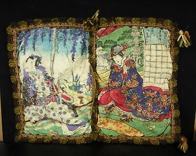 Coin Silk Decorated China or Japan Scene of Palace c1920 Silk China Gold Japan