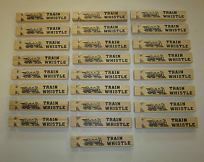 25 NEW WOODEN TOY TRAIN WHISTLES 6