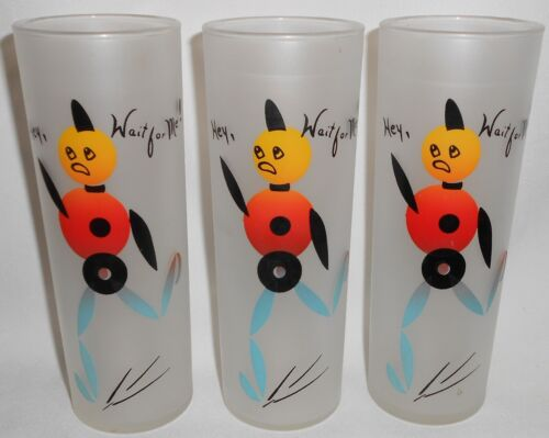 """Set (3) Zombies by FEDERAL GLASS """"Hey, Wait For Me"""" ICED TEAS Froster Glass"""