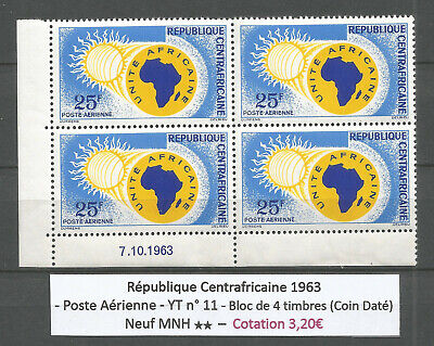 Central African Rep. 1963 - Air Mail n° 11 - Bloc of 4 stamps (coin daté) MNH **