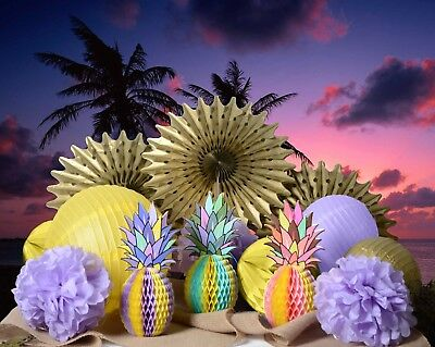 14 pcs Tropical Honeycomb Pineapple Centerpiece Table  lantern fan Decoration