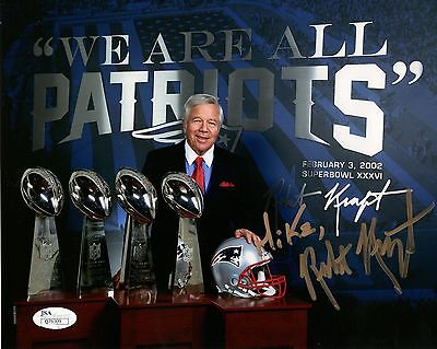 Robert Kraft Hand Signed 8X10 Color Photo        Sb Trophies    To Mike      Jsa