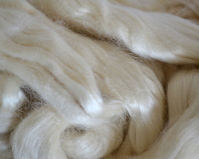 100 % Tussah-Seide Kammzug  naturweiß, Seide für filzen und spinnen, 50 g
