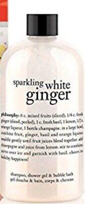- NEW PHILOSOPHY SPARKLING WHITE GINGER SHAMPOO SHOWER GEL & BUBBLE BATH 3N1 8 OZ