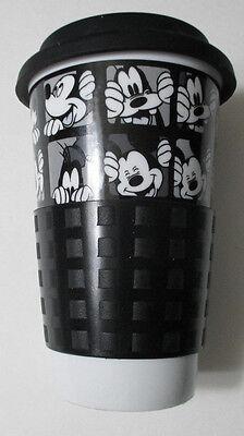 DISNEY Mickey Mouse & Goofy White Coffee/Tea Travel Mug w/Lid & Sleeve DISNEY