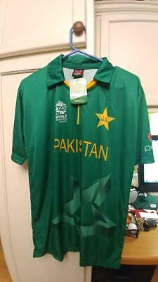 BRAND NWT ICC T20 WORLD CUP 2016 PAKISTAN SOCCER SHIRT MEN;'S SIZE LARGE image