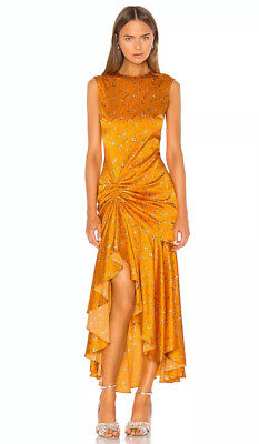 Caroline Constas Lonnie Tangerine Floral Small Sleeveless Dress Reg $800 New