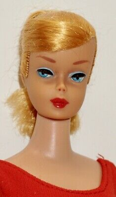 1960s VINTAGE Blonde Hair SWIRL PONYTAIL BARBIE DOLL #850 w/Org. Red SwimSuit