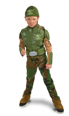 Green Soldier Halloween Costume (Combat Marine Army Camo Military Green Soldier Dress Up Halloween Child)