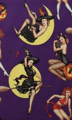 Halloween Pin Up (AH289 Sexy Pin Up Girls Bewitched Ladies Halloween Witch Cotton Quilt)