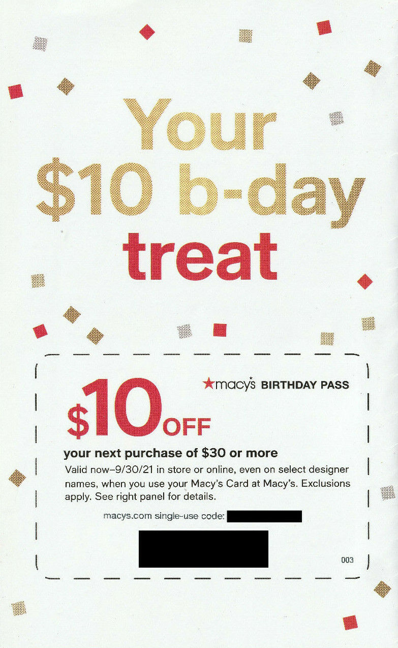 Macy s Birthday Pass Coupon 10 Off 30 Exp 9/30/2021 FAST E-Delivery - $1.11