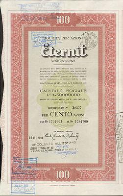 Eternit > Etex Fibre Cement Asbestos Genova Milano Italian lira bond certificate