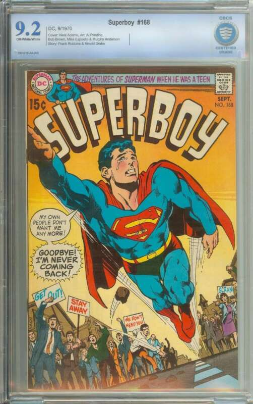 SUPERBOY #168 CBCS 9.2 OW/WH PAGES