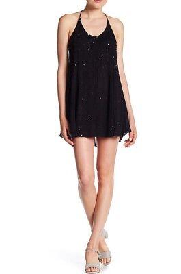 Black Sequin Halter - NEW Free People Intimately Just Watch Me Slip Sequin Halter Dress Black