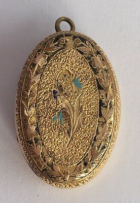 Rare Antique Victorian Art Nouveau Enamel Flowers Etched Gold Filled Locket