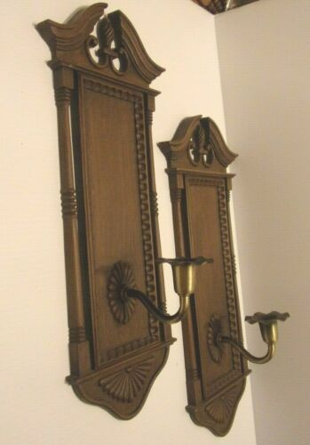 2 VINTAGE HOMCO  WALL CANDLE HOLDER SCONCES....FAUX WOOD