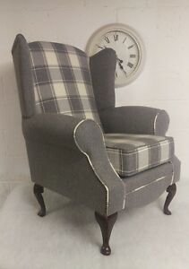 Wing Back / Queen Anne Chair Cream/Grey Check & Plain FREE DELIVERY MAIN UK.