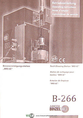 Binzel Abicor BRS-LC, Torch Cleaning Station, Operators Instruction Manual 2004
