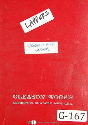 Gleason 19 Hypoid Lapper Operators Instructions Manual 1963