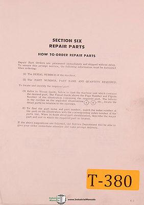 Traub Numeripoint And Manual Mill Machine Repair Parts Manual 1975
