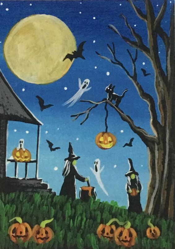 ACEO Original Halloween Mini Acrylic Sketch Card Witches ghosts pumpkins bats