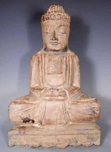 Fine RARE Bali Indonesia carved Wood Buddha on Lotus Base ca. 19-20th century