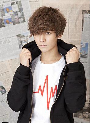 Handsome Men Fashion Short Brown Curly Hair Korean Boy Cosplay Heat Full Wigs