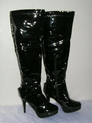 Damen Lackstiefel Schwarz High Heel GoGo Schuhe Gr 41,42,43,44