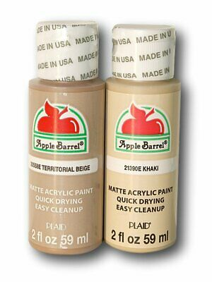 Apple Barrel Acrylic Paint Set Khaki & Territorial Beige, Dark Flesh Tones, 2 oz