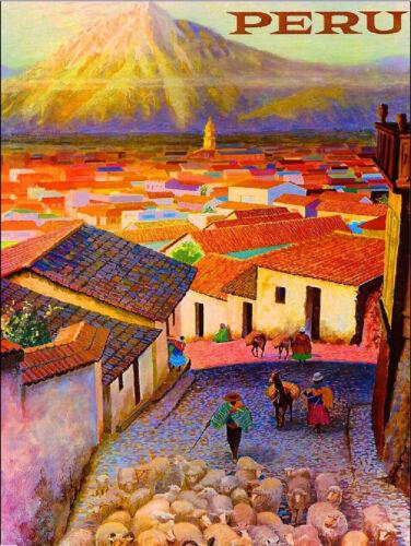 Visit Peru Inca Incas South America Vintage Travel Advertisement Art Print