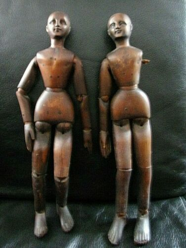 """13.5"""" Antique Wooden pair articulated Artists Model Mannequin Lay Figure C.1860"""