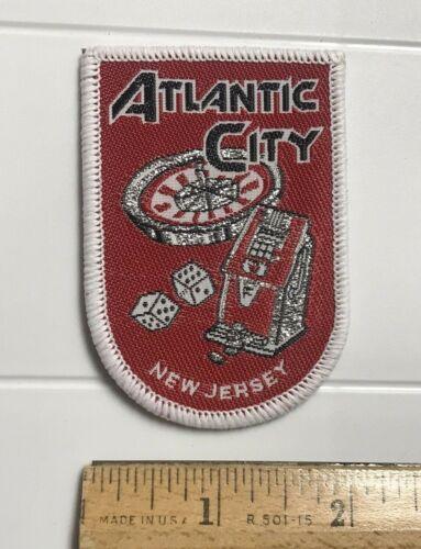 Atlantic City New Jersey NJ Casino Gambling Games Souvenir Red Woven Patch Badge