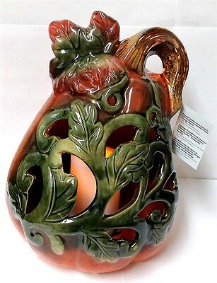 QVC Glazed Ceramic Vine Halloween Gourd Flameless Candle Luminary with Timer  - Flameless Halloween Candles