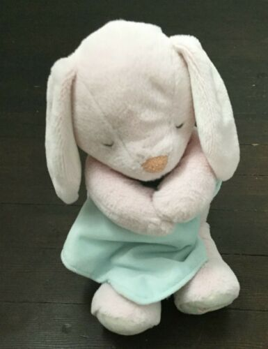 Carters Pink Musical Plush Bunny Rabbit Baby Toy Musical Lullaby Aqua Blanket