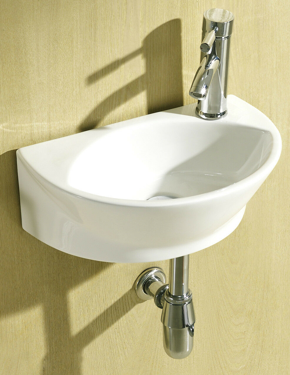 Small Bathroom Wall Hung Sinks : Small compact round d shaped cloakroom basin bathroom sink