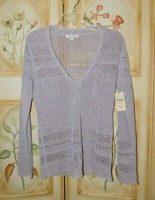 Coldwater Creek Lilac Purple Crochet Pointelle Pullover NWT Size S Misses 6-8