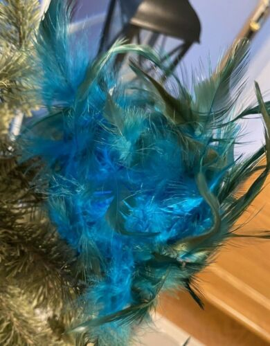 STUNNING PEACOCK COLORED FEATHERS CHRISTMAS ORNAMENT DECORATION