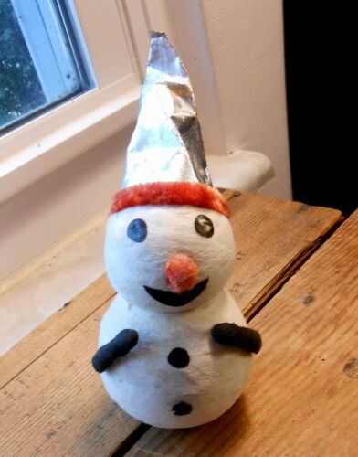 Occupied Japan Cotton Batten Snowman - 6""