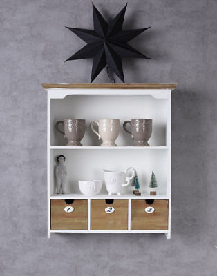 Elegante estante de pared de madera blanco con 3 cajones estante de...