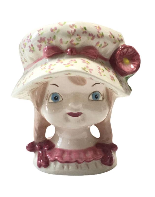 Vintage Girl Head Vase Cottagecore