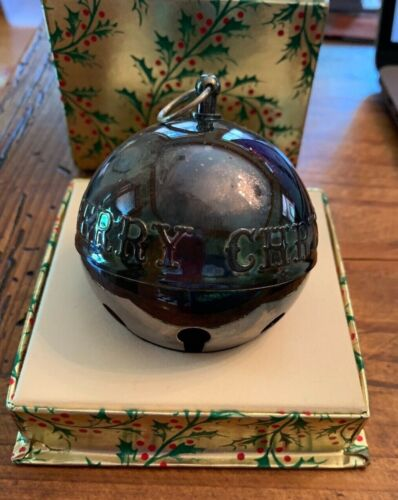 """Vintage 1973 Wallace Silver-Plate Jingle Bell """"Merry Christmas"""" Tree Ornament"""