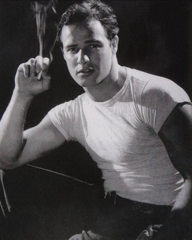 Marlon Brando White T Shirt Black And White  8x10 Photo Print
