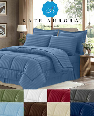 8 Pc Hotel Down Alternative Bed in a Bag Comforter Set - Assorted Colors & Sizes ()
