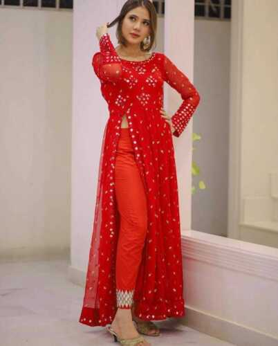 Designer georgette suit with inner  with foil wotk with pant