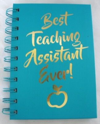 A6 Notebook Jotter Pad Spiral Bound Gold Lettering Best Teaching Assistant (Best Spiral Bound Notebook)