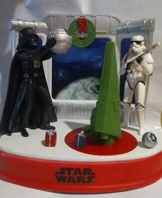 STAR WARS Christmas Musical Animated Table Top Decor Storm Trooper Darth Vader