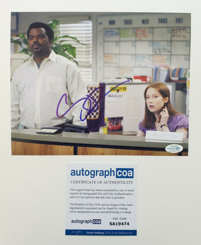 Craig Robinson Signed 'The Office' 8x10 Photo w/ Ellie Kemper EXACT Proof C