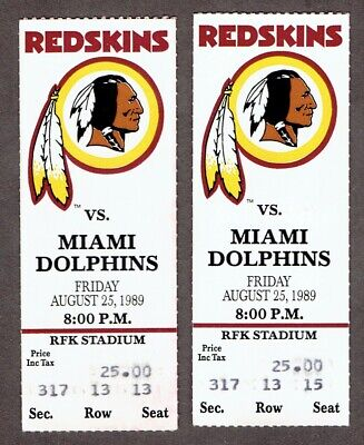 8/25/1989 Washington Redskins NFL Ticket Stubs x2 - Miami Dolphins
